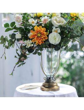 Wrought Iron European Classical Vase Desktop Glass Flower Vase Desktop Decoration Wedding Creative Ornaments Iron Planter Pot by Ncyp
