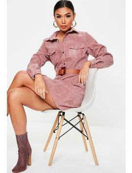 Pink Cord Skater Shirt Dress by Missguided