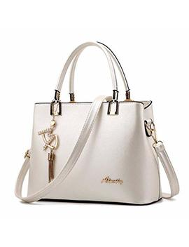 Fntsic Women's Fashion Pu Leather Handbags Elegant Top Handle Bags Cross Body Bags Ladies Tote Messenger Shoulder Bags (White) by Fntsic