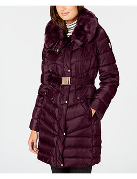 Faux Fur Trim Hooded Belted Puffer Coat by Vince Camuto