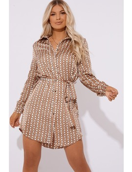 Amarantha Nude Silky Geo Print Tie Waist Shirt Dress by In The Style