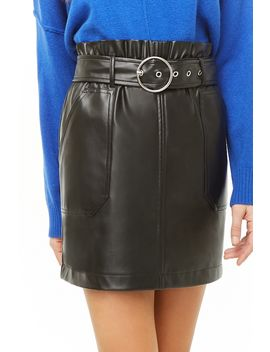 Belted Faux Leather Paperbag Skirt by Forever 21