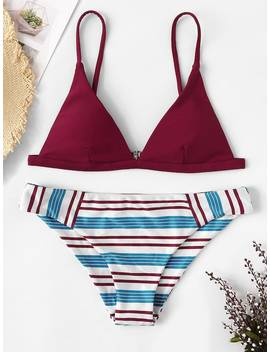 Triangle Top With Striped Low Rise Bikini Set by Sheinside