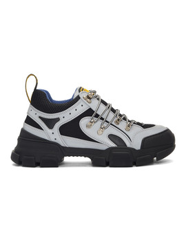 Grey & Black Reflective Flashtrek Sneakers by Gucci