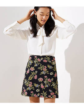 Petite Floral Vine Jacquard Shift Skirt by Loft
