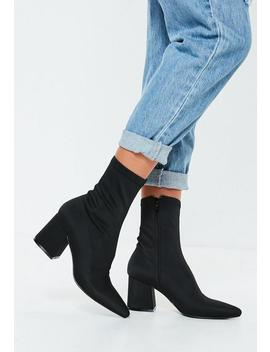 Black Mid Heel Sock Boots by Missguided