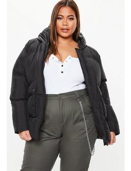 Plus Size Black Ultimate Hooded Puffer Jacket by Missguided