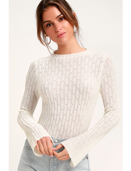 Leida White Ribbed Sweater Top by Lulus