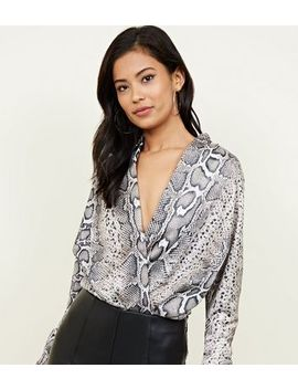 Tall Grey Snake Print Wrap Bodysuit by New Look