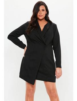 Plus Size Black Asymmetric Blazer Dress by Missguided
