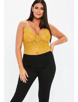 Plus Size Mustard Lace Bodysuit by Missguided