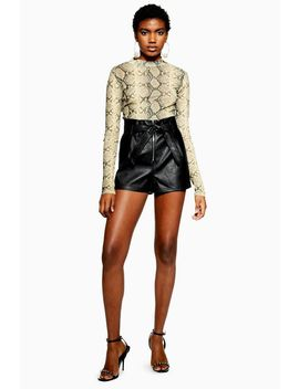 Petite Leather Look Zip Shorts by Topshop