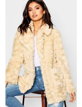 Textured Collared Faux Fur Coat by Boohoo