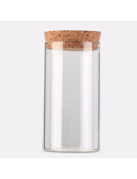 350ml Clear Transparent Heat Resistant Glass Bottle With Sealed Cork Beans Tea Leaves Storage Container Vase by Preup
