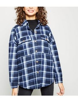 Blue Check Fleece Oversized Shirt by New Look
