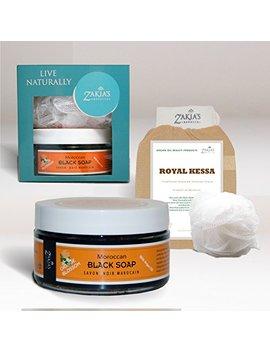 8 Oz Moroccan Black Soap  Exotic Orange Blossom Scent With Added Argan Oil Plus Kessa Exfoliating Glove by Zakia's Morocco