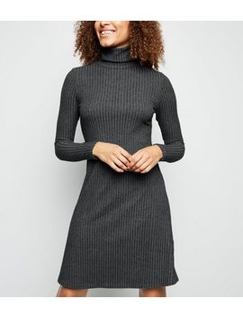 Tall Dark Grey Brushed Rib Knit Roll Neck Dress by New Look