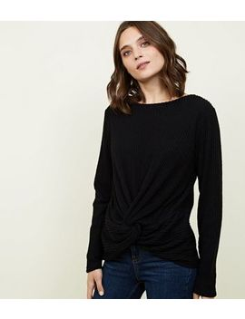 Black Brushed Rib Twist Front Top by New Look