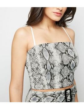 Cameo Rose Light Grey Snake Print Crop Top by New Look