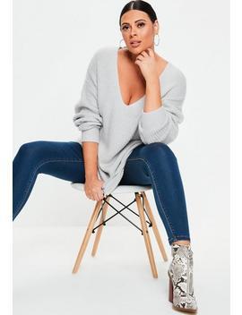 Plus Size Grey Boyfriend Sweater by Missguided