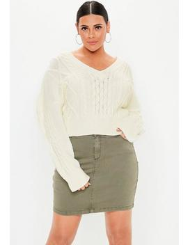 Plus Cream V Neck Cable Knitted Sweater by Missguided