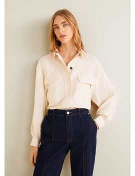 Soft Tencel Blouse Met Zakken by Mango