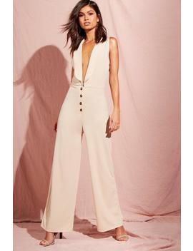 Shawl Collar Button Front Jumpsuits by Boohoo