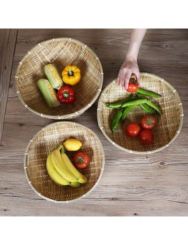 Bamboo Fruits Vegetables Storage Handmade Weaving Storage Basket Bamboo Wicker Bread Basket Snack Hamper Vintage Home Decorate by Monokweepjy