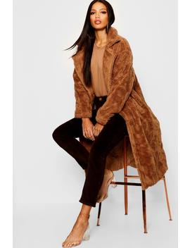Collared Longline Faux Fur Coat by Boohoo