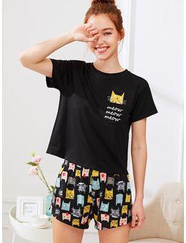 Cat Print Tee & Shorts Pj Set by Shein