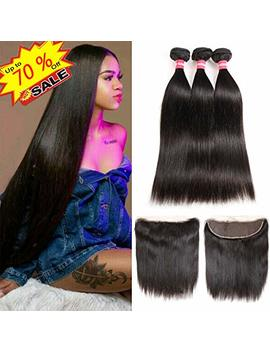 Brazilian Straight Hair 3 Bundles With Frontal Closure 13×4 Ear To Ear Lace Frontal With Bundles 100 Percents Unprocessed Virgin Human Hair Extensions Weave Natural Color (10 12 14 +10 Frontal) by Long Yao