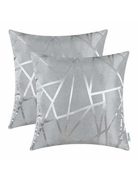 Cali Time Pack Of 2 Throw Pillow Covers Cases For Couch Sofa Home Decor Modern Shining & Dull Contrast Triangles Abstract Lines Geometric 18 X 18 Inches Silver Gray by Cali Time