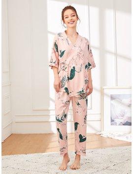 Floral Print Wrap Pajama Set With Eye Mask by Shein
