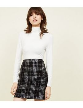 Black Metallic Check Bouclé Check Mini Skirt by New Look