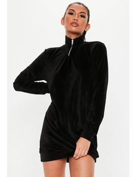 Black High Neck Velour Sweater Dress by Missguided