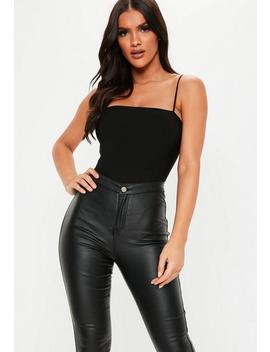 Black Slinky Straight Neck Bodysuit by Missguided