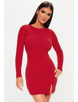 Red Crepe Long Sleeve Bodycon Dress by Missguided