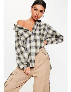 Cream Oversized Plaid Shirt by Missguided