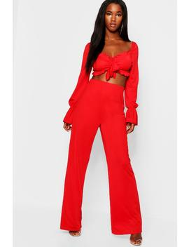 Long Volume Sleeve Tie Front Top + Trouser Co Ord by Boohoo