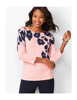 Floral Bateau Neck Sweater by Talbots