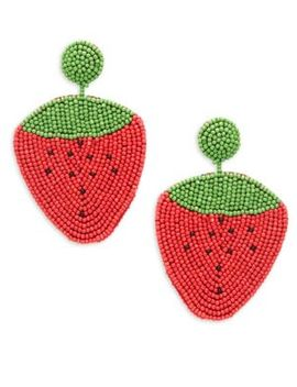 Beaded Strawberry Drop Earrings by Kenneth Jay Lane