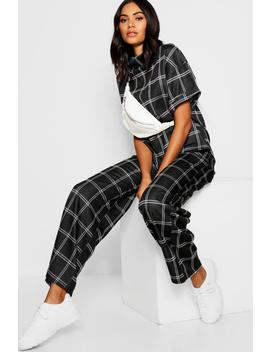Checked Top + Wide Leg Trouser Co Ord by Boohoo