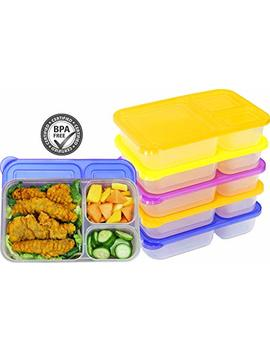 6 Pack   Simple Houseware 3 Compartment Heavy Duty Bento Lunch Container Boxes, 36 Ounces, 4 Color by Simple Houseware