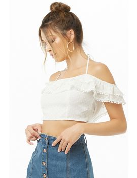 Clip Dot Off The Shoulder Crop Top by Forever 21