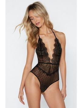 Lace Of Spades Halter Bodysuit by Nasty Gal