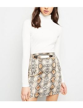 Pink Vanilla Brown Snake Print Gold Belt Skirt by New Look