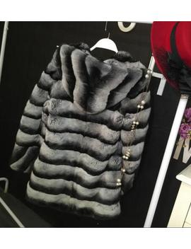 Russian Fashion Women Real Fur Coat Winter Warm Stand Collar Natural Chinchilla Rex Rabbit Fur Coat Da 77 by Dancing Wings