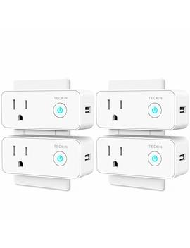 Smart Plug Mini Wi Fi Outlet With Usb Port Travel Wireless Socket Compatible With Alexa, Google Home&Ifttt, Teckin Wi Fi Plug Enabled Remote Control Timer Function, No Hub Required (4 Pack) by Amazon