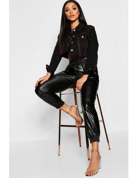 Pu Cargo Leather Look Trouser by Boohoo