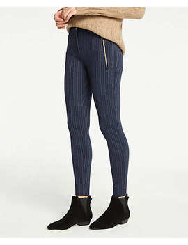 Petite Pinstripe Zip Pocket Leggings by Ann Taylor